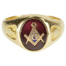 10K Masonic Compass Square Symbol Syn. Ruby Ring Size 10.25 Yellow Gold [QWXT]