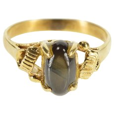 18K Oval Black Star Sapphire Cabochon Swirl Accent Ring Size 7 Yellow Gold [QRXQ]
