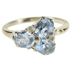 10K Oval Blue Topaz Cubic Zirconia Inset Cluster Ring Size 8 White Gold [QWXT]