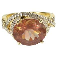 14K 4.96 Ctw Mexican Fire Opal Diamond Wrap Halo Ring Size 7 Yellow Gold [QRXQ]