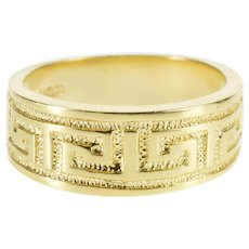 14K Greek Key Wave Textured Patterned Band Ring Size 6.5 Yellow Gold [QWXT]