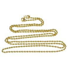 """14K 1.3mm Twist Link Fancy Rolling Rope Chain Necklace 20"""" Yellow Gold  [QWXT]"""