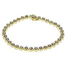 "10K 1.08 Ctw Diamond Inset Round Link Tennis Bracelet 7"" Yellow Gold  [QWXT]"