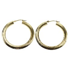 14K Grooved Patterned Ridged Hollow Hoop Earrings Yellow Gold  [QWXT]