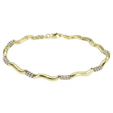 "10K 0.50 Ctw Diamond Bar Cluster Link Wavy Tennis Bracelet 7"" Yellow Gold  [QWXT]"