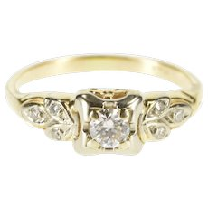 14K 0.31 Ctw Art Deco Diamond Leaf Engagement Ring Size 5.5 Yellow Gold [QWXT]