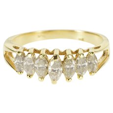 14K 1.00 Ctw Marquise Diamond Seven Stone Band Ring Size 8 Yellow Gold [QRXQ]