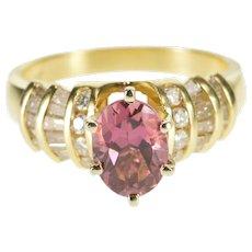 14K 2.16 Ctw Pink Tourmaline Diamond Chanel Accent Ring Size 6 Yellow Gold [QWXT]