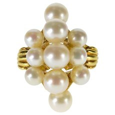 18K Ornate Pearl Cluster Statement Cocktail Ring Size 5.75 Yellow Gold [QRXQ]