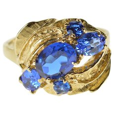 14K Blue Syn. Spinel Retro Textured Cluster Cocktail Ring Size 6.75 Yellow Gold [QRXQ]