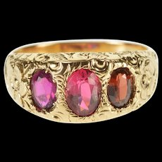 8K Three Stone Simulated Ruby Victorian Ornate Ring Size 8 Yellow Gold [QRXQ]
