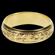 14K Ornate Etched Leaf Pattern Wedding Band Ring Size 8.75 Yellow Gold [QRXQ]