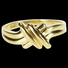 10K Grooved Criss Cross Bypass Freeform Design Ring Size 6 Yellow Gold [QRXQ]
