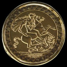 9K St. George and The Dragon 1979 Bullion Ring Size 7.5 Yellow Gold [QRXQ]