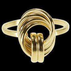 14K Interlocked Circles Loop Design Statement Ring Size 6.75 Yellow Gold [QRXQ]