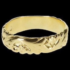 14K Ornate Embossed Scroll Pattern Wedding Band Ring Size 6.25 Yellow Gold [QRXQ]