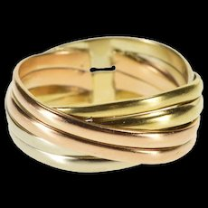 14K Tri Tone Tripled Tiered Design Statement Band Ring Size 5 Yellow Gold [QRXQ]