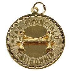 14K San Francisco California Golden Gate Bridge Charm/Pendant Yellow Gold  [QWXT]