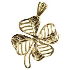 14K Textured Pattern Clover Shamrock Good Luck Pendant/Pin Yellow Gold  [QRXQ]