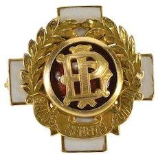 10K Ornate Enamel Monogram Columbia Presbyterian Hospital School of Nursing, NY  1955 Pin/Brooch Yellow Gold  [QWXT]
