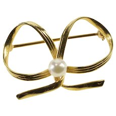14K Retro Pearl Inset Grooved Bow Ribbon Pin/Brooch Yellow Gold  [QRXQ]
