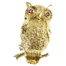 14K Ornate Synthetic Ruby Inset Perched Owl Pin/Brooch Yellow Gold  [QRXQ]