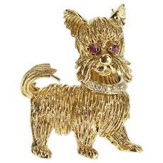 14K Stylized Long Hair Cat Diamond Ruby Inset Pin/Brooch Yellow Gold  [QWXT]