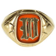 10K Carnelian W Letter Initial Monogram 1930's Ring Size 8.75 Yellow Gold [QWXT]