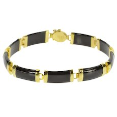 "14K Curved Black Onyx Bar Link Chinese Character Bracelet 7"" Yellow Gold  [QRXQ]"