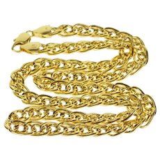 "14K 6.5mm Double Curb Link Fancy Chain Necklace 18"" Yellow Gold  [QWXT]"
