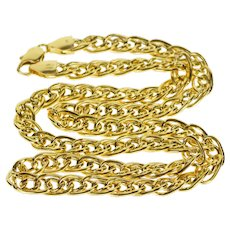 "14K 6.5mm Double Curb Link Fancy Chain Necklace 18"" Yellow Gold  [QRXQ]"