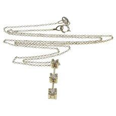 "10K 0.30 Ctw Diamond Tiered Bar Pendant Chain Necklace 16"" Yellow Gold  [QRXQ]"