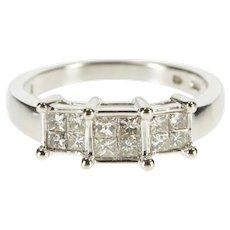 14K 0.48 Ctw Princess Cluster Inset Engagement Ring Size 6.75 White Gold [QRXQ]