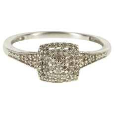 Sterling Silver 0.30 Ctw Pave Diamond Encrusted Promise Ring Size 7  [QWXK]