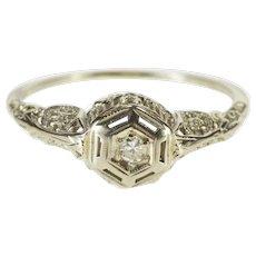 18K Art Deco Ornate Diamond Filigree Engagement Ring Size 6.75 White Gold [QWXT]