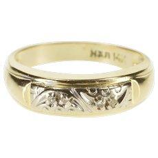 14K Diamond Crescent Inset Two Tone Wedding Band Ring Size 7.75 Yellow Gold [QWXT]