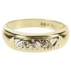 14K Diamond Crescent Inset Two Tone Wedding Band Ring Size 7.75 Yellow Gold [QRXQ]