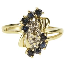 10K Sapphire Diamond Wavy Cluster Inset Statement Ring Size 6 Yellow Gold [QRXQ]
