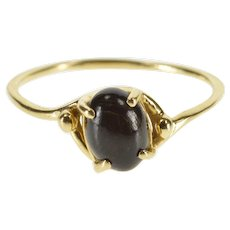 14K Oval Black Cabochon Wavy Freeform Ring Size 8.25 Yellow Gold [QWXT]