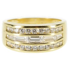 14K Tiered Channel Inset Cubic Zirconia Band Ring Size 8 Yellow Gold [QRXQ]