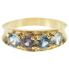 14K Blue Topaz Inset Retro Curved Band Ring Size 9.25 Yellow Gold [QWXT]