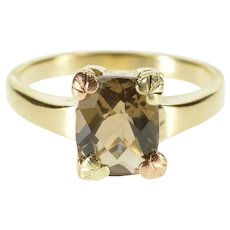 10K Ornate Leaf Prong Faceted Smokey Quartz Ring Size 9 Yellow Gold [QRXS]