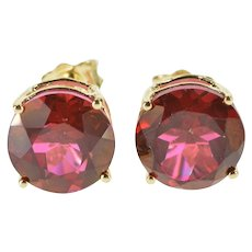 14K Rhodolite Garnet Round Solitaire Post Back Stud Earrings Yellow Gold  [QWXK]