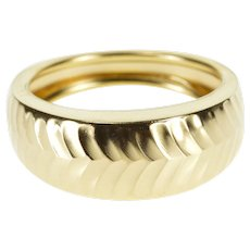 14K Chevron Patterned Rounded Graduated Band Ring Size 8 Yellow Gold [QRXQ]