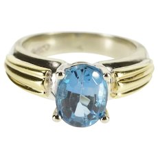 10K Oval Blue Topaz Prong Set Solitaire Two Tone Ring Size 5.25 White Gold [QRXS]