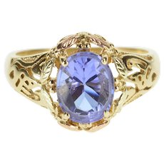 10K Oval Purple Cubic Zirconia Black Hills Leaf Ring Size 9 Yellow Gold [QWXK]