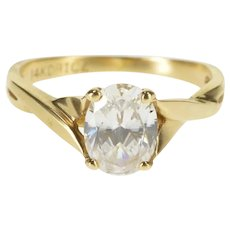 14K Oval Prong Wavy Solitaire Travel Engagement Ring Size 5.25 Yellow Gold [QRXS]