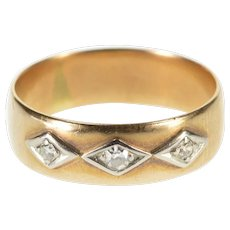 18K Diamond Kite Inset Rounded Victorian Wedding Ring Size 7 Yellow Gold [QWXK]