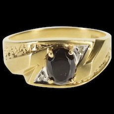 10K Retro Black Onyx Oval Diamond Zig Zag Men's Ring Size 10 Yellow Gold [QRXS]