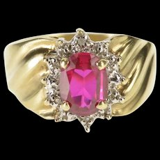 10K Oval Syn. Ruby Diamond Accent Halo Ring Size 6.25 Yellow Gold [QRXS]